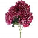 Hydrangea bush, 5 flower heads, L45cm, erika